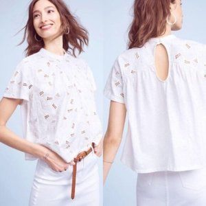 Anthropologie Akemi + Kin White Eyelet Shirt
